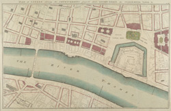 PART of LONDON shewing the IMPROVEMENTS propos'd about LONDON-BRIDGE, the CUSTOM HOUSE, TOWER &c.